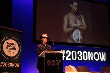 During the Social Good Summit, Alicia Keys addresses the audience on how to make positive changes that can make the world a better place. Jynwel Charitable Foundation is proud to be a partner to her newest global campaign, We Are Here.