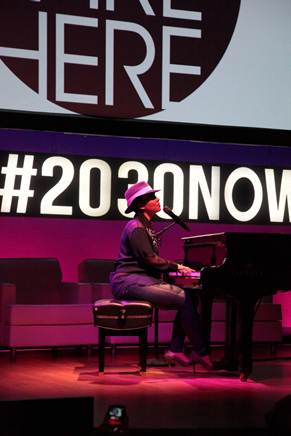 Alicia Keys, a keynote speaker at the Mashable Social Good Summit, performs her latest single, We Are Here,  for a large, global audience.