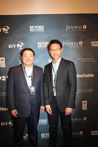 The Low brothers pose for a picture together at the 2014 Mashable Social Good Summit in New York City. Both Directors of Jynwel Charitable Foundation, they also run the business and operations of Jynwel Capital Limited where Mr. Jho Low (pictured left) serves as Chief Executive Officer and Mr. Szen Low serves as Group Managing Director.