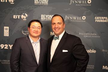 Mr. Jho Low (pictured left) and Aaron Sherinian, VP Communications & PR, United Nations Foundation, snap a picture together at the 2014 Mashable Social Good Summit.